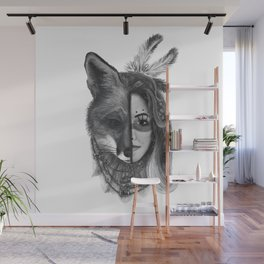 Girl with a fox face Wall Mural