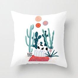 Cat and cacti Throw Pillow