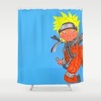 naruto Shower Curtains featuring Naruto - ナルトwatercolour  by Lewys Williams