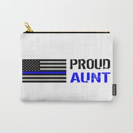 Police: Proud Aunt (Thin Blue Line) Carry-All Pouch