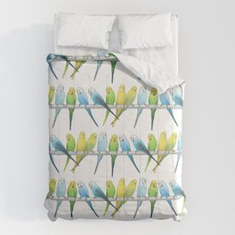 Row of Budgies Comforters