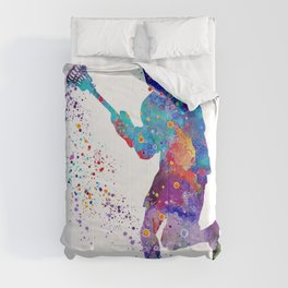 Lacrosse Boy Colorful Watercolor Art Sports Gift Comforters