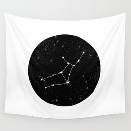 Virgo star sign zodiac star chart constellation black and white Wall Tapestry