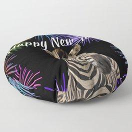 Wild Animal Zebra - Happy New Year fireworks  Floor Pillow