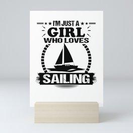 sailing girl sailing girl sailing boat water lake Mini Art Print