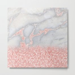Sparkly Pink Rose Gold Ombre Bohemian Marble Metal Print