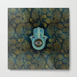 Decorative Hamsa Hand with paisley background Metal Print