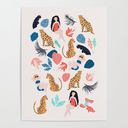 Tropical girls and Cheetah Poster