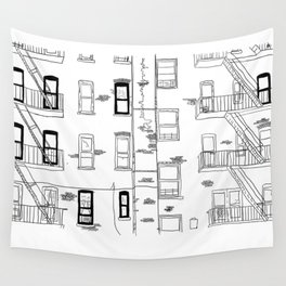 Building Front Wall Tapestry