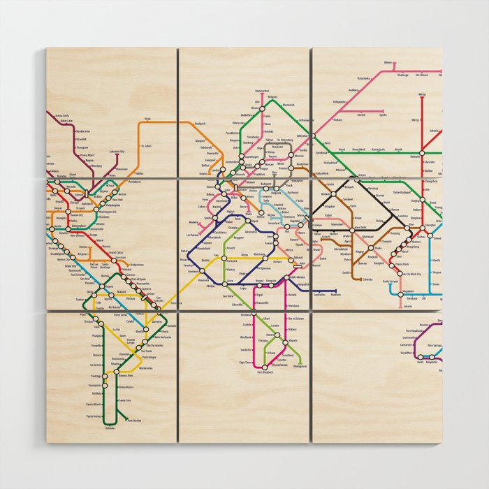 World Metro Subway Map.World Metro Subway Map Wood Wall Art By Artpause