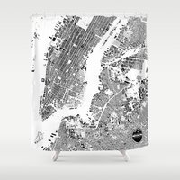 new york map Shower Curtains featuring New York Map by Maps Factory