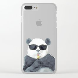 Panda Loves Popsicle Clear iPhone Case