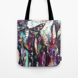 """Inspire Truth"" Original Painting by Flora Bowley & Lynzee Lynx Tote Bag"
