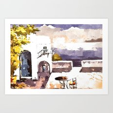 Greek Island house Art Print
