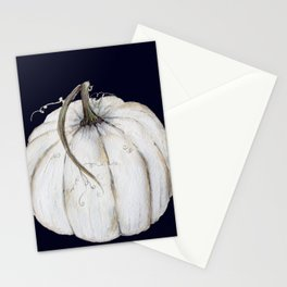 White pumpkin on navy Stationery Cards