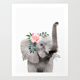 Baby Elephant with Flower Crown Art Print