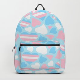 TransPride Hearts Pattern Backpack