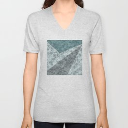 Combined abstract pattern .Green marble . Unisex V-Neck
