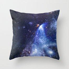 Blue Cosmic Galaxy Throw Pillow