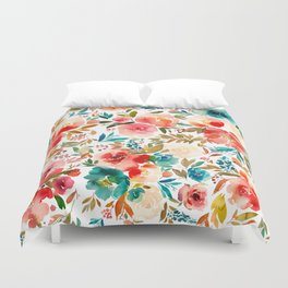 Red Turquoise Teal Floral Watercolor Duvet Cover