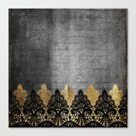 Pure elegance II - Luxury Gold and black lace on grunge dark backround Canvas Print