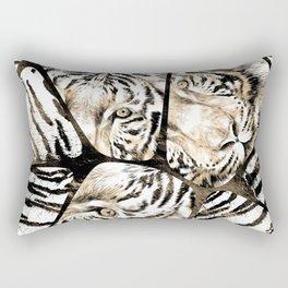 Tiger portrait composition on voronoi pattern Rectangular Pillow