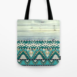 Aztec Pattern on Wood Panel NOT REAL WOOD - Triba Tote Bag