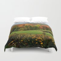 vermont Duvet Covers featuring Warren Vermont Foliage by Vermont Greetings