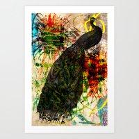 Splatter Peacock Art Print