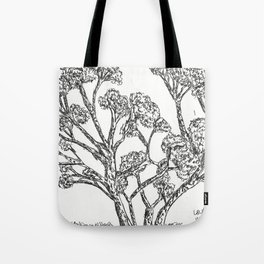 Black and white Rollerball Pen Tree Branches Drawing Tote Bag