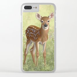 Cute Whitetail Fawn Clear iPhone Case
