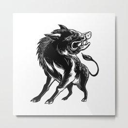 Angry Wild Hog Razorback Scratchboard Metal Print