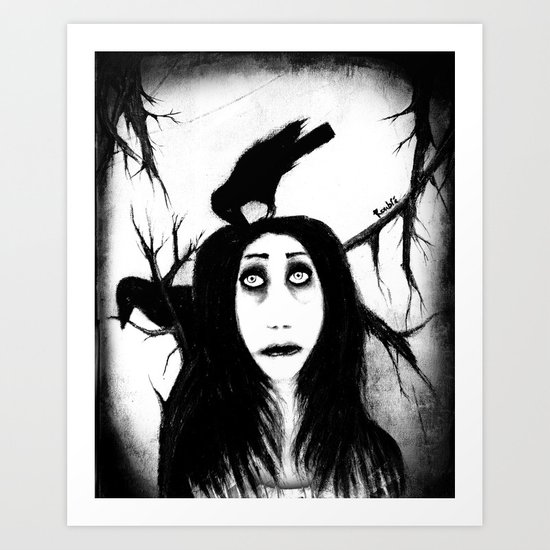Her eyes so innocent... on hallowed ground. Art Print