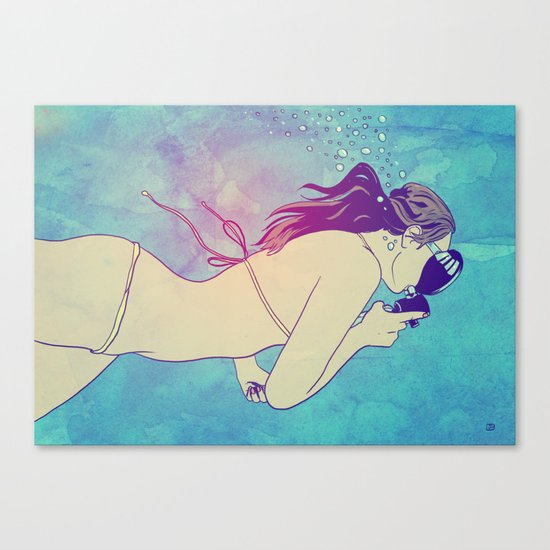 Swimming Girl Canvas Print