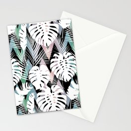 Blush pink green white hand painted tropical leaves chevron Stationery Cards