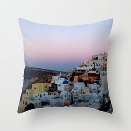 Dawn of Santorini Greece Throw Pillow
