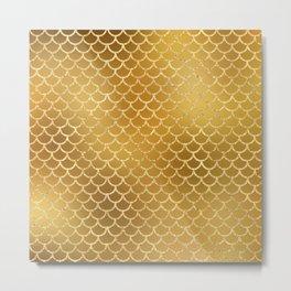 Elegant, Bling Gold Mermaid Scale Pattern Metal Print