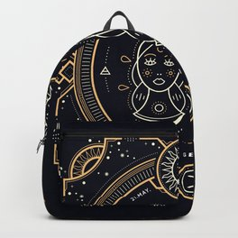 Gemini Zodiac Gold White on Black Background Backpack
