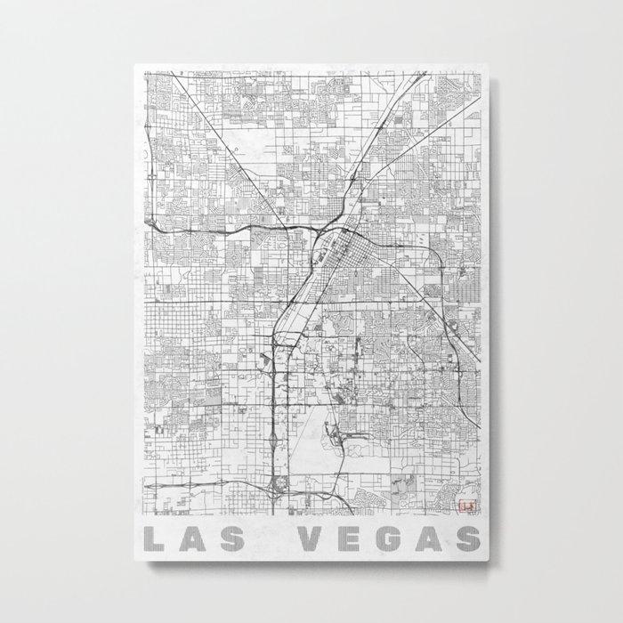 Las Vegas Map Line Metal Print