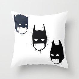 Three Batmen Throw Pillow