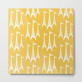 Mid Century Modern Giraffe Pattern 225 Yellow Metal Print