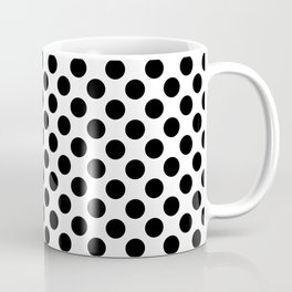 Minimalistic medium polka dots pattern, black and white Coffee Mug