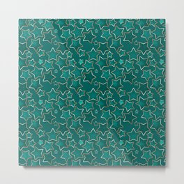 Green faded stars on a blue background . Metal Print