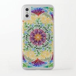 Rainbow Flower Mandala Clear iPhone Case