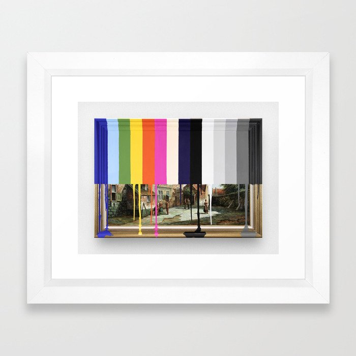 Garage Sale Painting of Peasants with Color Bars Framed Art Print by ...