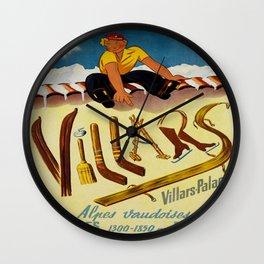 Vintage Villars Switzerland Winter Sports Travel Poster Wall Clock