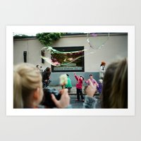 kids and bubbles. Art Print