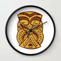 maori Wall Clocks featuring Maori Mask Woodcut by patrimonio