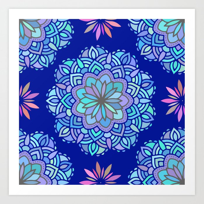 heart mandala pattern on dark blue background art print by