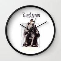 birdman Wall Clocks featuring Birdman by Melanie Ida Chopko